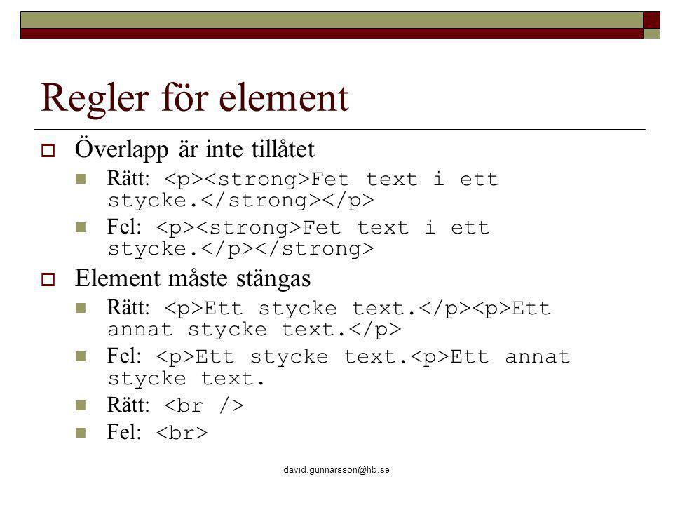 david.gunnarsson@hb.se Regler för element  Överlapp är inte tillåtet Rätt: Fet text i ett stycke.