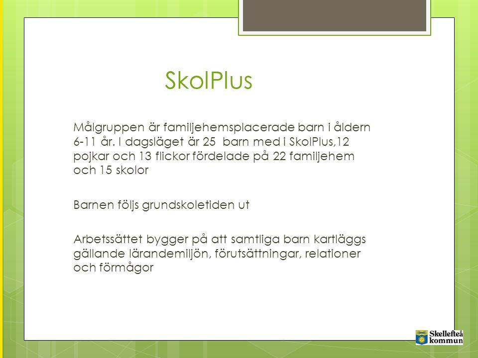 SkolPlus Målgruppen är familjehemsplacerade barn i åldern 6-11 år.
