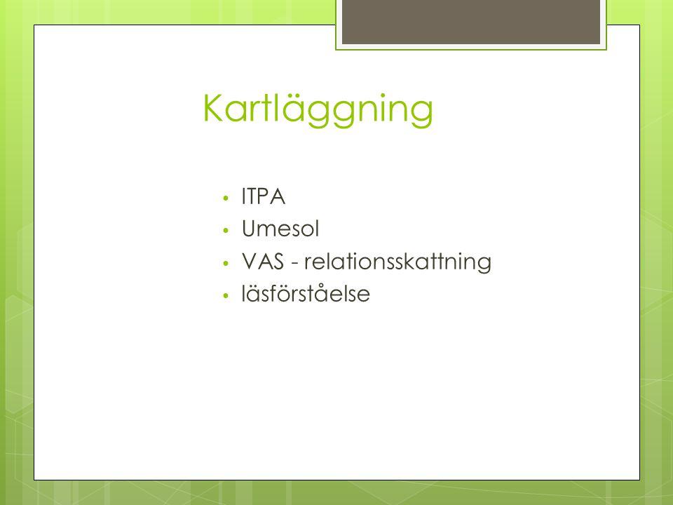 Kartläggning ITPA Umesol VAS - relationsskattning läsförståelse