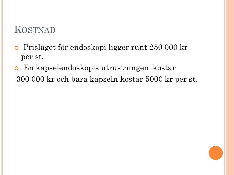 K OSTNAD Prisläget för endoskopi ligger runt 250 000 kr per st. En kapselendoskopis utrustningen kostar 300 000 kr och bara kapseln kostar 5000 kr per