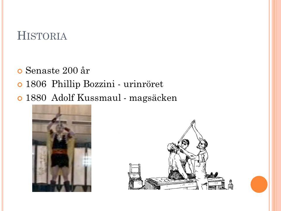 H ISTORIA Senaste 200 år 1806 Phillip Bozzini - urinröret 1880 Adolf Kussmaul - magsäcken
