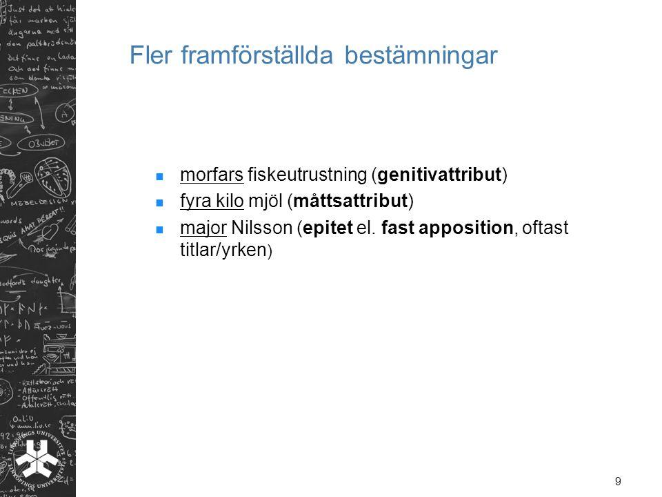 9 Fler framförställda bestämningar morfars fiskeutrustning (genitivattribut) fyra kilo mjöl (måttsattribut) major Nilsson (epitet el. fast apposition,