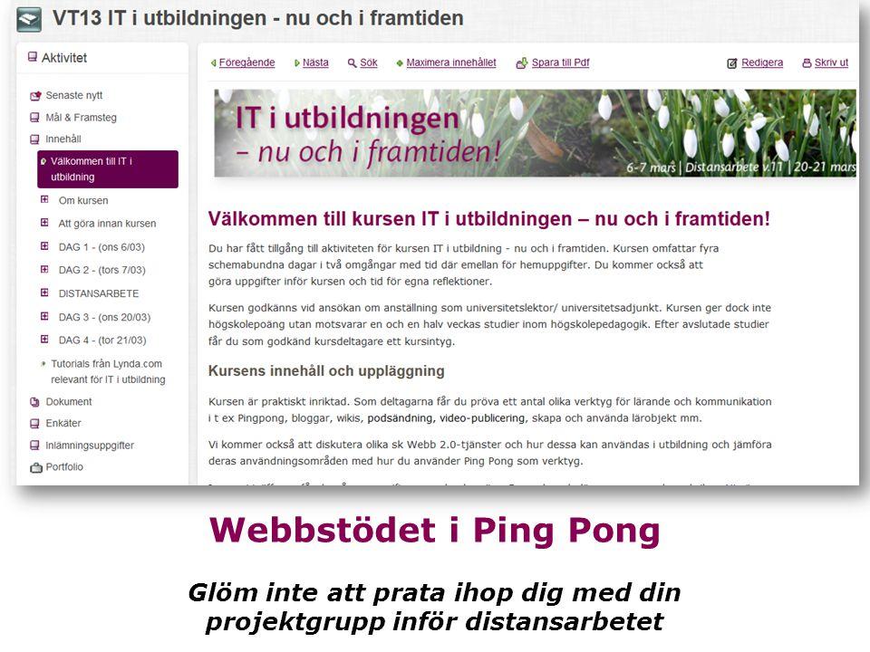 Webbstödet i Ping Pong Glöm inte att prata ihop dig med din projektgrupp inför distansarbetet