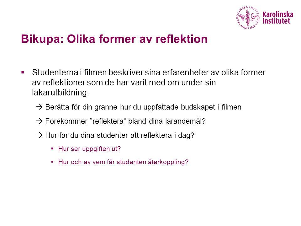 Bikupa: Olika former av reflektion  Studenterna i filmen beskriver sina erfarenheter av olika former av reflektioner som de har varit med om under si