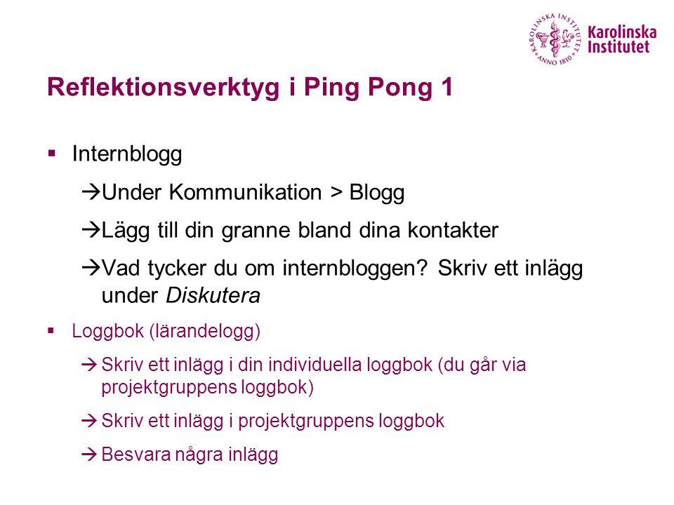Reflektionsverktyg i Ping Pong 1  Internblogg  Under Kommunikation > Blogg  Lägg till din granne bland dina kontakter  Vad tycker du om internbloggen.