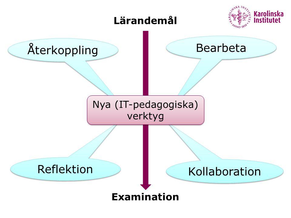 Återkoppling Reflektion Bearbeta Kollaboration Lärandemål Examination Nya (IT-pedagogiska) verktyg
