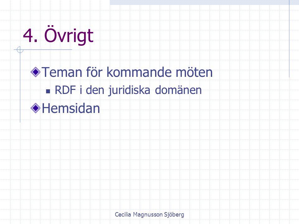 Cecilia Magnusson Sjöberg 4. Övrigt Teman för kommande möten RDF i den juridiska domänen Hemsidan