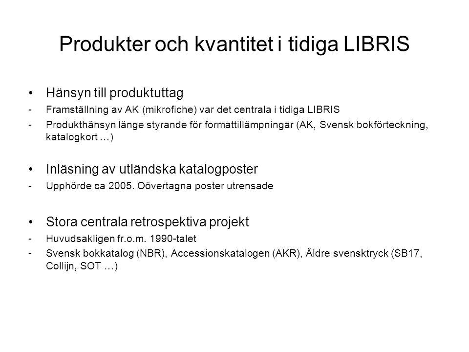 Produkter och kvantitet i tidiga LIBRIS Hänsyn till produktuttag -Framställning av AK (mikrofiche) var det centrala i tidiga LIBRIS -Produkthänsyn länge styrande för formattillämpningar (AK, Svensk bokförteckning, katalogkort …) Inläsning av utländska katalogposter -Upphörde ca 2005.