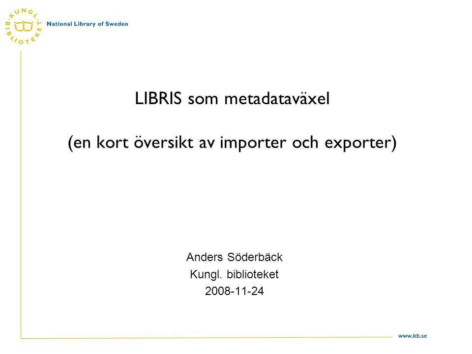 www.kb.se Disposition Metadataväxel.Vad är LIBRIS.