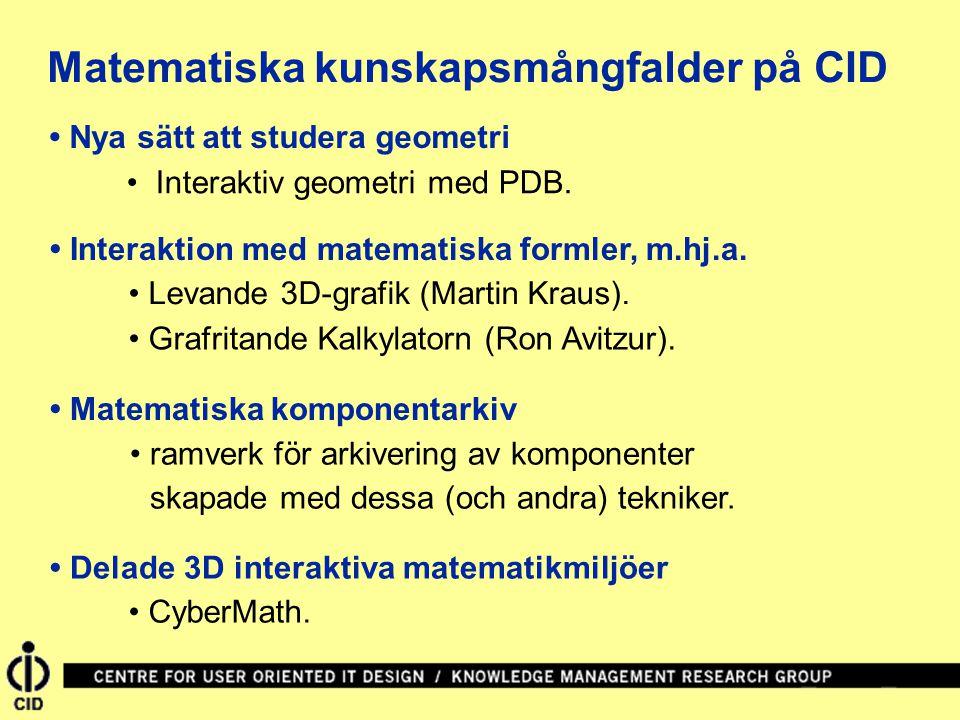 Matematiska kunskapsmångfalder på CID Matematiska komponentarkiv Nya sätt att studera geometri Interaktion med matematiska formler, m.hj.a.