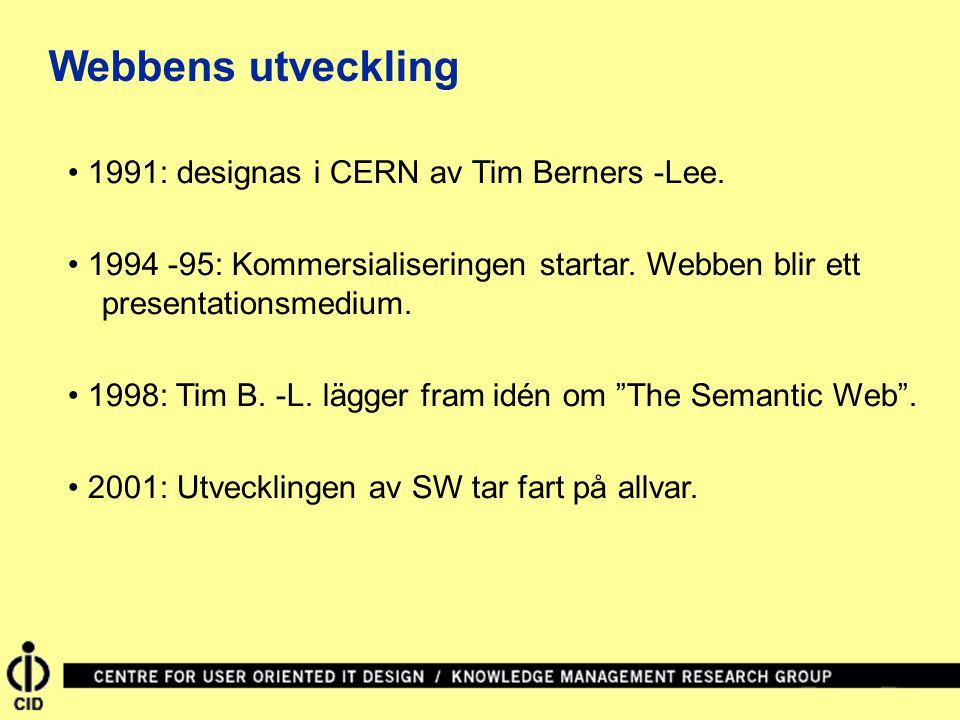 1991: designas i CERN av Tim Berners -Lee. 1994 -95: Kommersialiseringen startar. Webben blir ett presentationsmedium. 1998: Tim B. -L. lägger fram id