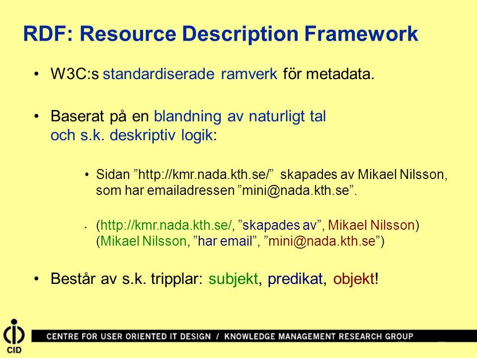 """W3C:s standardiserade ramverk för metadata. Baserat på en blandning av naturligt tal och s.k. deskriptiv logik: Sidan """"http://kmr.nada.kth.se/"""" skapad"""