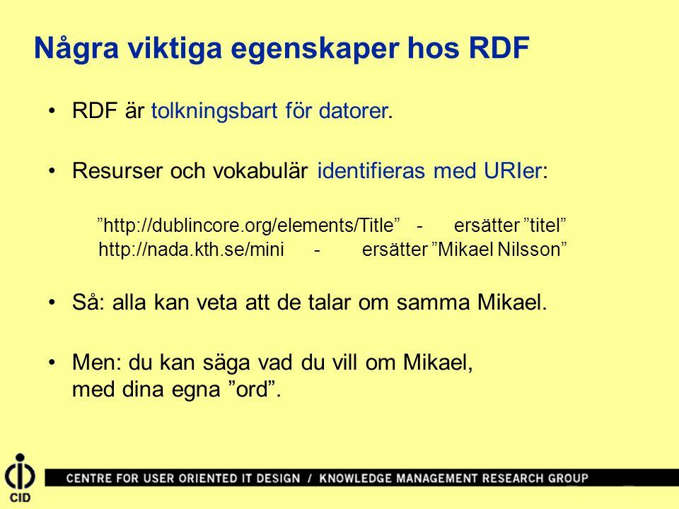 """RDF är tolkningsbart för datorer. Resurser och vokabulär identifieras med URIer: """"http://dublincore.org/elements/Title""""- ersätter """"titel"""" http://nada."""