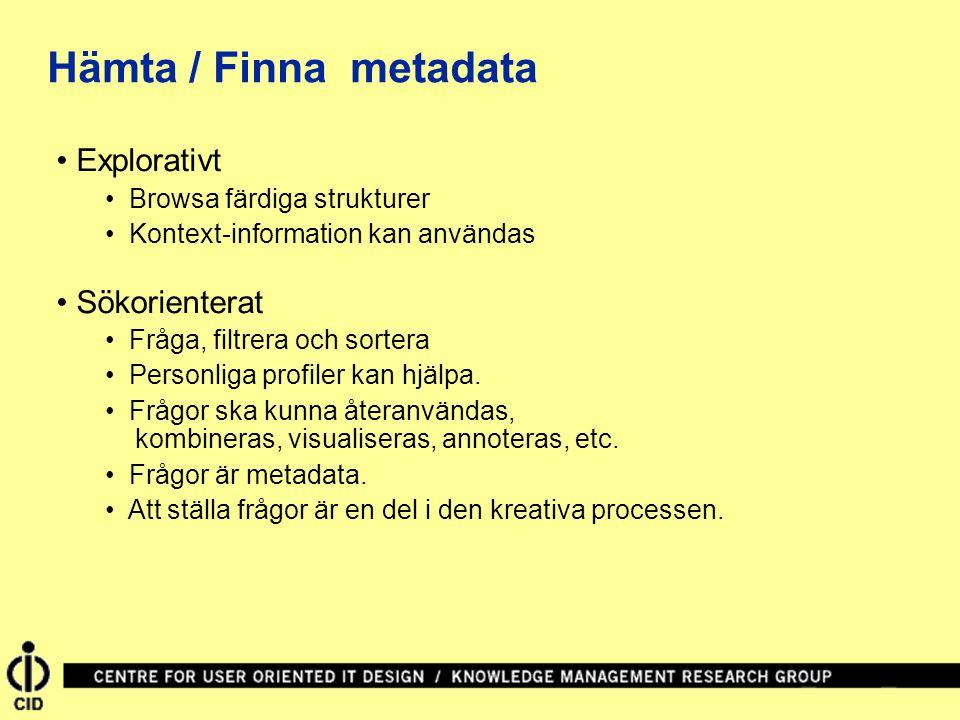 Explorativt Browsa färdiga strukturer Kontext-information kan användas Sökorienterat Fråga, filtrera och sortera Personliga profiler kan hjälpa.