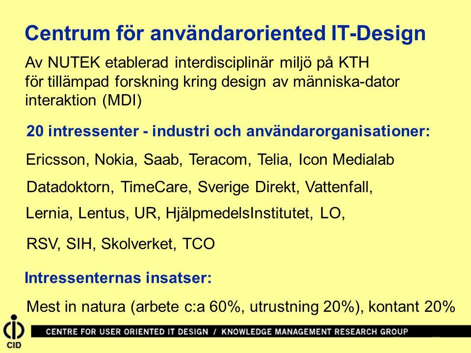 Av NUTEK etablerad interdisciplinär miljö på KTH för tillämpad forskning kring design av människa-dator interaktion (MDI) 20 intressenter - industri och användarorganisationer: Ericsson, Nokia, Saab, Teracom, Telia, Icon Medialab Datadoktorn, TimeCare, Sverige Direkt, Vattenfall, Lernia, Lentus, UR, HjälpmedelsInstitutet, LO, RSV, SIH, Skolverket, TCO Intressenternas insatser: Centrum för användaroriented IT-Design Mest in natura (arbete c:a 60%, utrustning 20%), kontant 20%