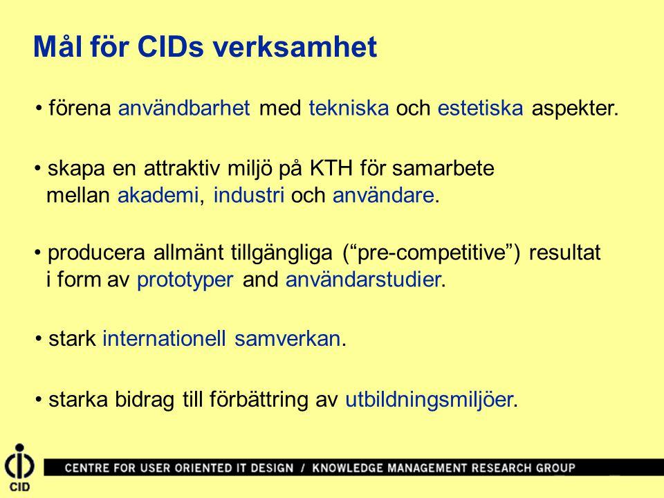 Mål för CIDs verksamhet förena användbarhet med tekniska och estetiska aspekter. skapa en attraktiv miljö på KTH för samarbete mellan akademi, industr