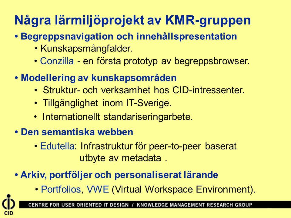 Några lärmiljöprojekt av KMR-gruppen Begreppsnavigation och innehållspresentation Modellering av kunskapsområden Den semantiska webben Conzilla - en f