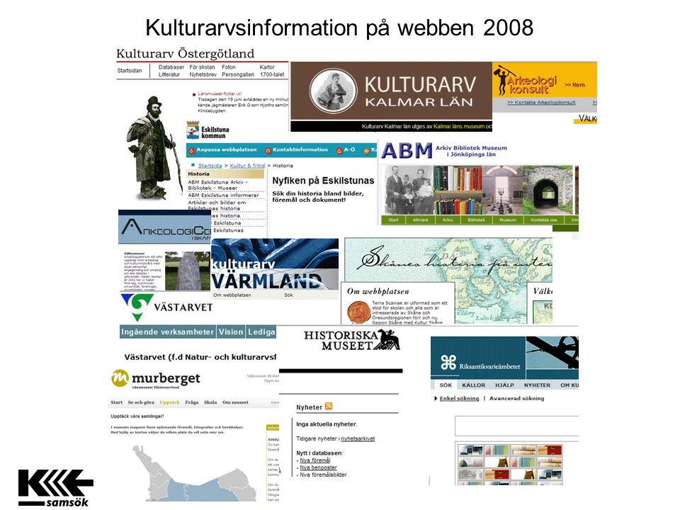 Nå kulturarv via webb igår www.museum2.se WEBBPLATS PRODUCENT KONSUMENT Producent www.museum1.se Producent www.museum3.se Producent