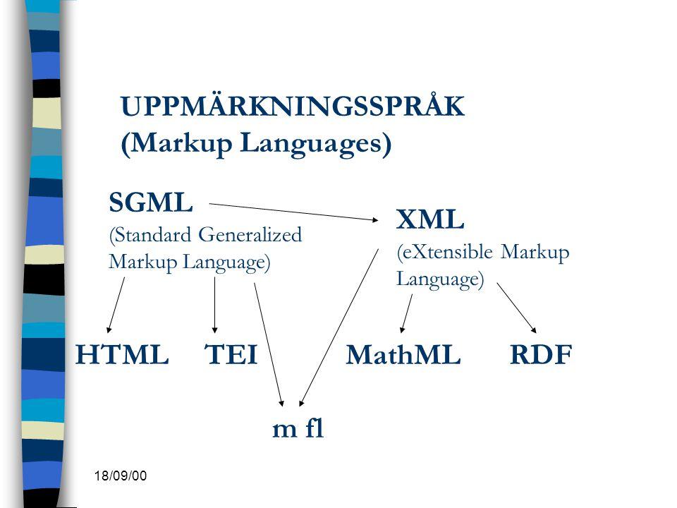 18/09/00 UPPMÄRKNINGSSPRÅK (Markup Languages) SGML (Standard Generalized Markup Language) XML (eXtensible Markup Language) HTMLTEIMathMLRDF m fl
