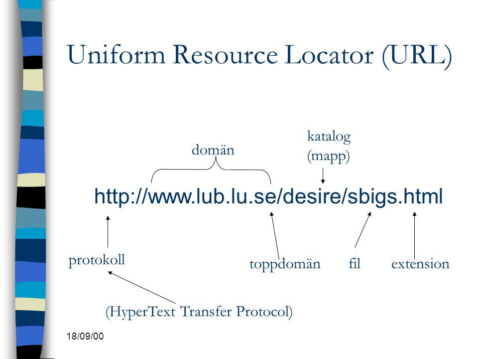 18/09/00 Uniform Resource Locator (URL) http://www.lub.lu.se/desire/sbigs.html protokoll toppdomän katalog (mapp) filextension (HyperText Transfer Pro