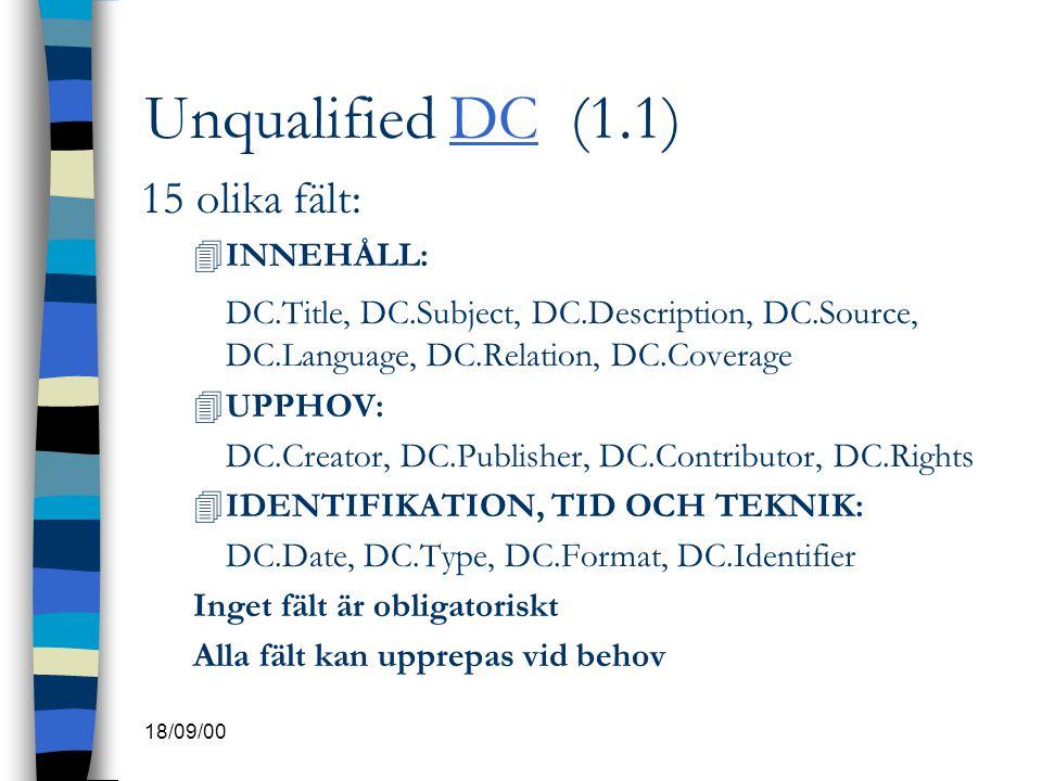 18/09/00 Unqualified DC (1.1)DC 15 olika fält: 4INNEHÅLL: DC.Title, DC.Subject, DC.Description, DC.Source, DC.Language, DC.Relation, DC.Coverage 4UPPH