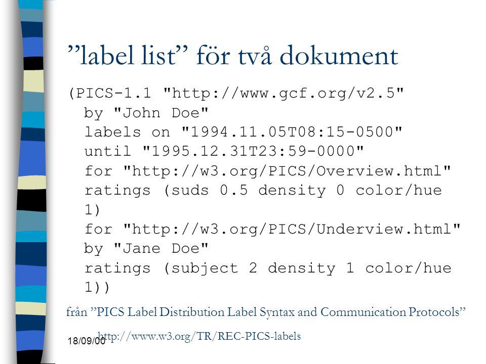 """18/09/00 """"label list"""" för två dokument (PICS-1.1"""