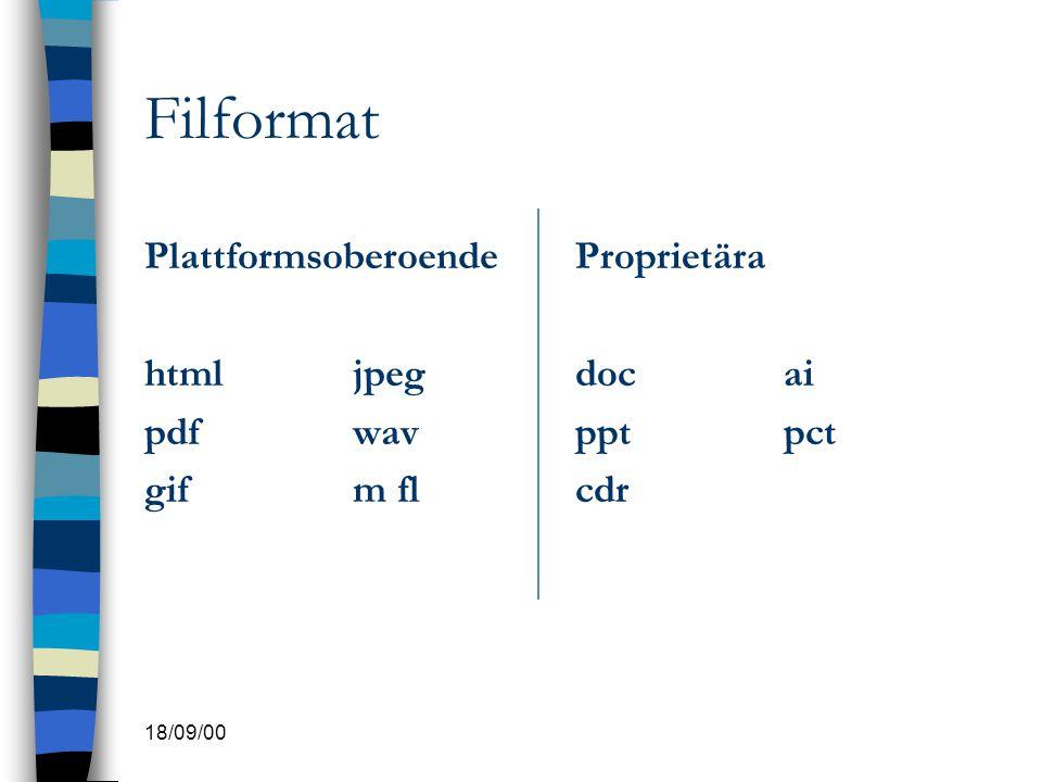 18/09/00 Filformat Plattformsoberoende htmljpeg pdfwav gifm fl Proprietära docai pptpct cdr