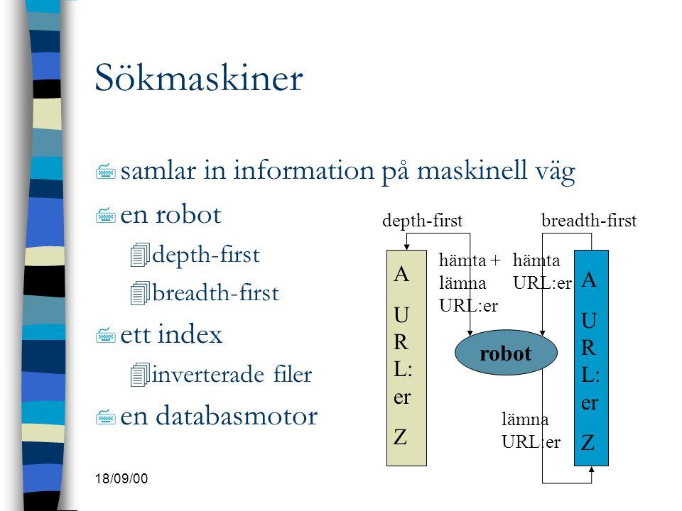 18/09/00 Sökmaskiner 7 samlar in information på maskinell väg 7 en robot 4depth-first 4breadth-first 7 ett index 4inverterade filer 7 en databasmotor