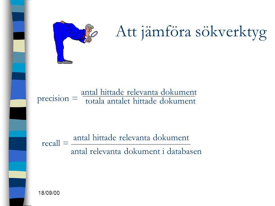 18/09/00 Att jämföra sökverktyg precision = antal hittade relevanta dokument totala antalet hittade dokument recall = antal hittade relevanta dokument