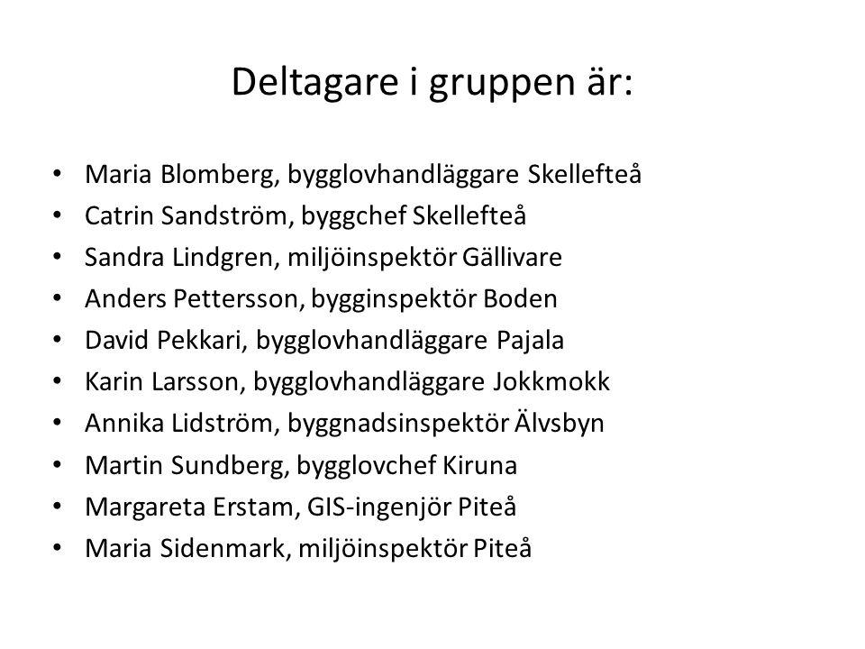 Deltagare i gruppen är: Maria Blomberg, bygglovhandläggare Skellefteå Catrin Sandström, byggchef Skellefteå Sandra Lindgren, miljöinspektör Gällivare