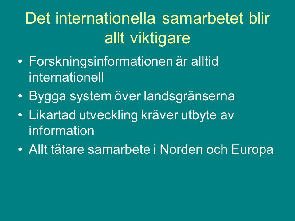 Det internationella samarbetet blir allt viktigare Forskningsinformationen är alltid internationell Bygga system över landsgränserna Likartad utveckling kräver utbyte av information Allt tätare samarbete i Norden och Europa