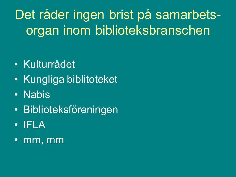 Det råder ingen brist på samarbets- organ inom biblioteksbranschen Kulturrådet Kungliga biblitoteket Nabis Biblioteksföreningen IFLA mm, mm