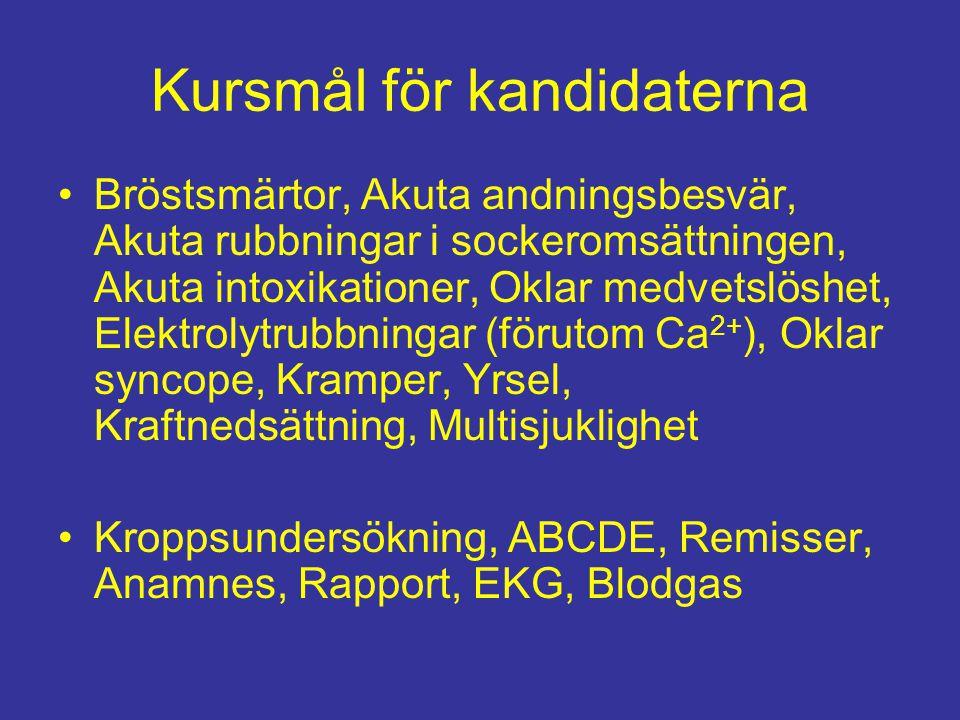 Kursmål för kandidaterna Bröstsmärtor, Akuta andningsbesvär, Akuta rubbningar i sockeromsättningen, Akuta intoxikationer, Oklar medvetslöshet, Elektrolytrubbningar (förutom Ca 2+ ), Oklar syncope, Kramper, Yrsel, Kraftnedsättning, Multisjuklighet Kroppsundersökning, ABCDE, Remisser, Anamnes, Rapport, EKG, Blodgas