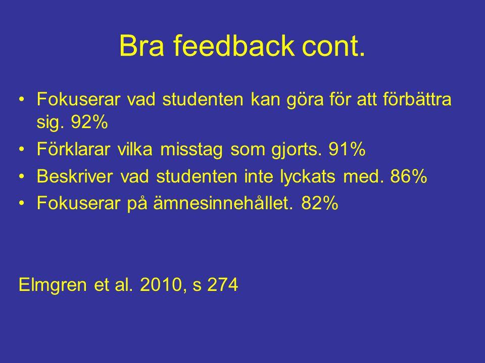 Bra feedback cont. Fokuserar vad studenten kan göra för att förbättra sig. 92% Förklarar vilka misstag som gjorts. 91% Beskriver vad studenten inte ly