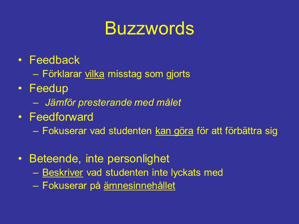 Buzzwords Feedback –Förklarar vilka misstag som gjorts Feedup – Jämför presterande med målet Feedforward –Fokuserar vad studenten kan göra för att förbättra sig Beteende, inte personlighet –Beskriver vad studenten inte lyckats med –Fokuserar på ämnesinnehållet