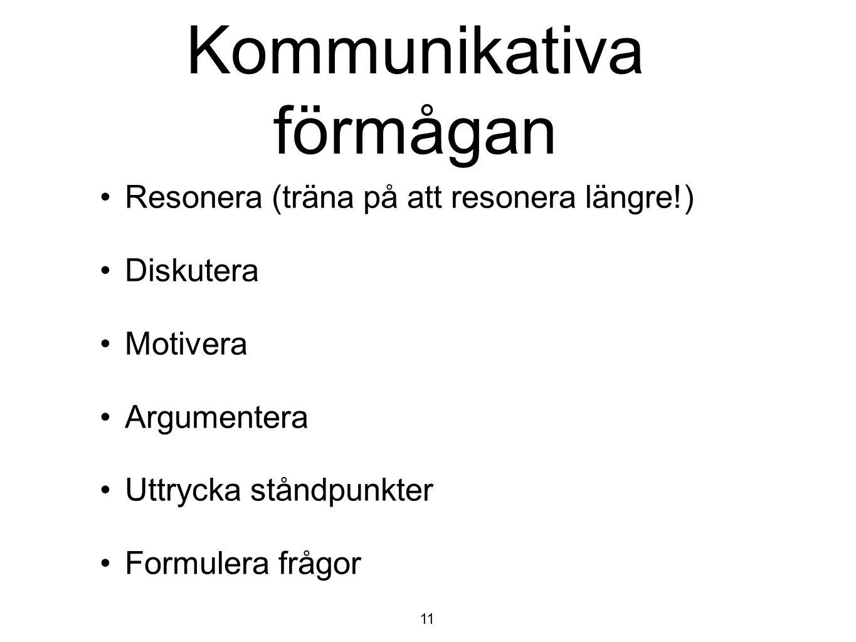 Kommunikativa förmågan Resonera (träna på att resonera längre!) Diskutera Motivera Argumentera Uttrycka ståndpunkter Formulera frågor 11