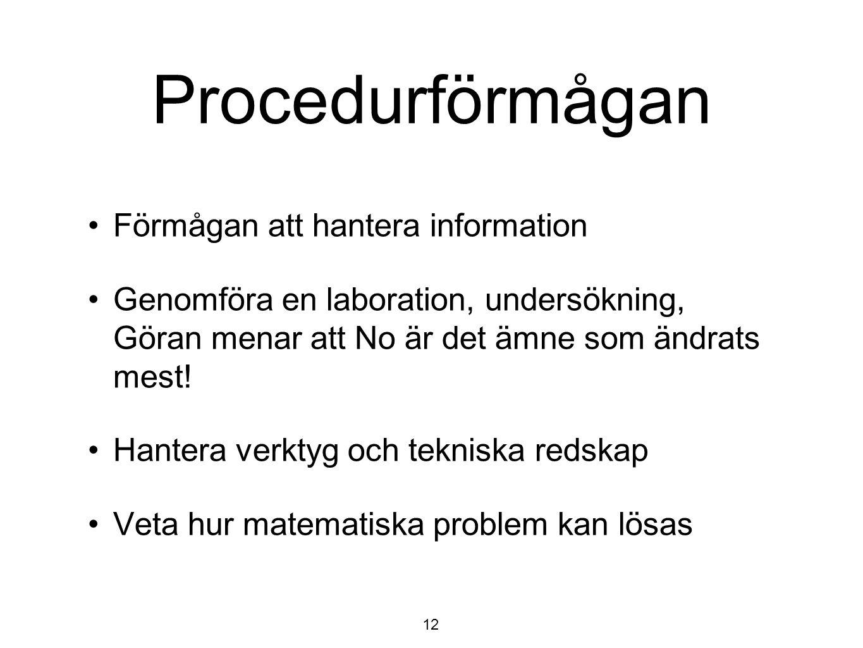 Procedurförmågan Förmågan att hantera information Genomföra en laboration, undersökning, Göran menar att No är det ämne som ändrats mest! Hantera verk