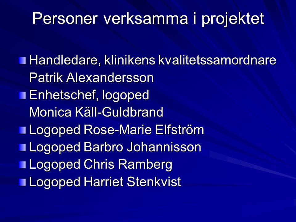 Personer verksamma i projektet Handledare, klinikens kvalitetssamordnare Patrik Alexandersson Enhetschef, logoped Monica Käll-Guldbrand Logoped Rose-M