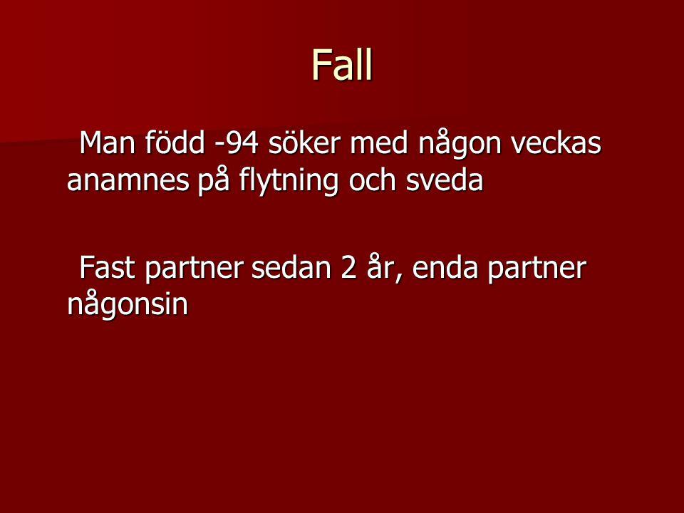 Fall Man född -94 söker med någon veckas anamnes på flytning och sveda Man född -94 söker med någon veckas anamnes på flytning och sveda Fast partner