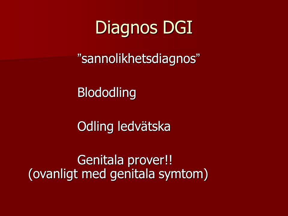 """Diagnos DGI """" sannolikhetsdiagnos """" """" sannolikhetsdiagnos """" Blododling Blododling Odling ledvätska Odling ledvätska Genitala prover!! (ovanligt med ge"""