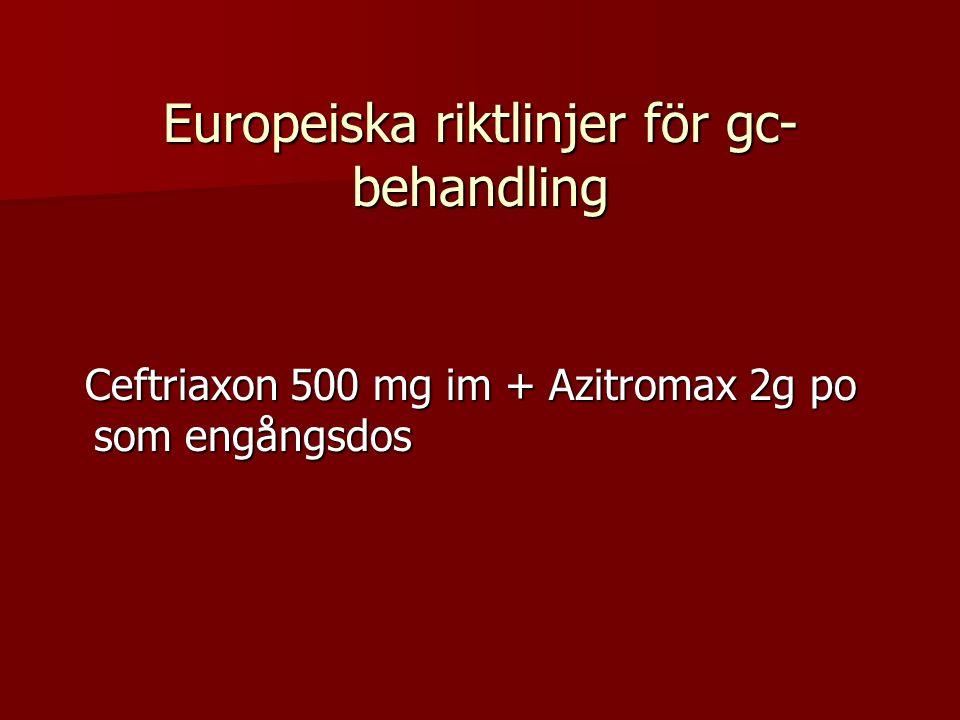 Europeiska riktlinjer för gc- behandling Ceftriaxon 500 mg im + Azitromax 2g po som engångsdos Ceftriaxon 500 mg im + Azitromax 2g po som engångsdos