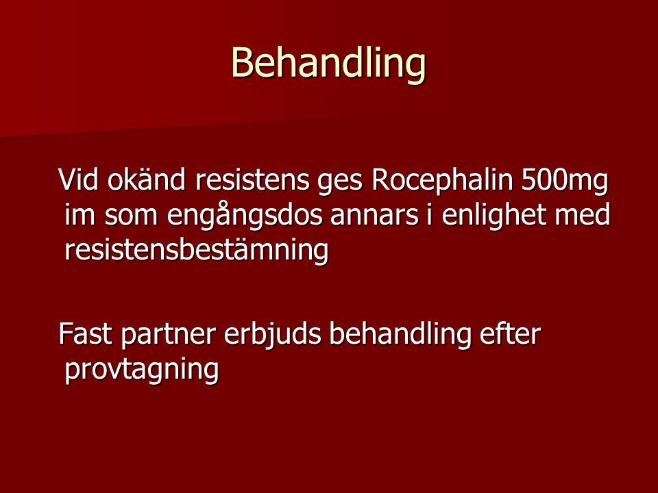Behandling Vid okänd resistens ges Rocephalin 500mg im som engångsdos annars i enlighet med resistensbestämning Vid okänd resistens ges Rocephalin 500