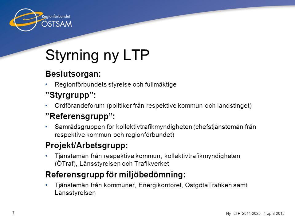 """7 Ny LTP 2014-2025, 4 april 2013 Styrning ny LTP Beslutsorgan: Regionförbundets styrelse och fullmäktige """"Styrgrupp"""": Ordförandeforum (politiker från"""