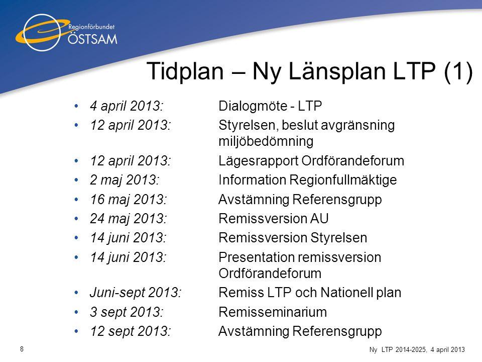 8 Ny LTP 2014-2025, 4 april 2013 Tidplan – Ny Länsplan LTP (1) 4 april 2013:Dialogmöte - LTP 12 april 2013:Styrelsen, beslut avgränsning miljöbedömnin