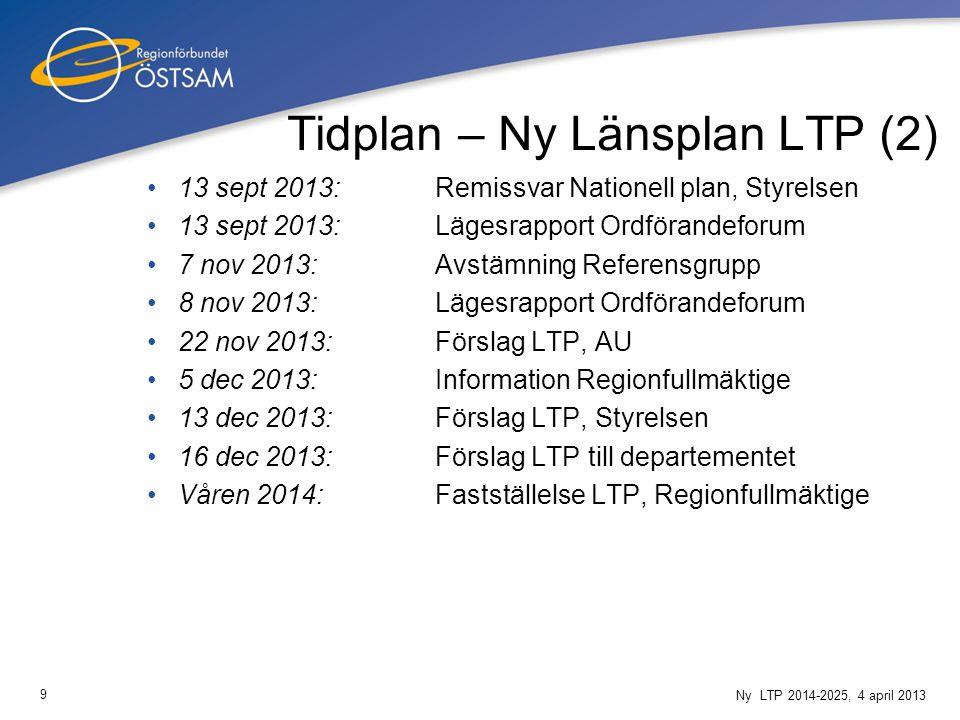 9 Ny LTP 2014-2025, 4 april 2013 Tidplan – Ny Länsplan LTP (2) 13 sept 2013:Remissvar Nationell plan, Styrelsen 13 sept 2013:Lägesrapport Ordförandefo