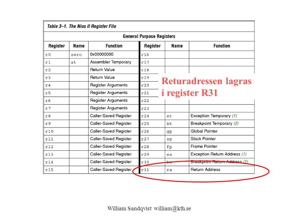 William Sandqvist william@kth.se Returnaddress Returadressen lagras i register R31