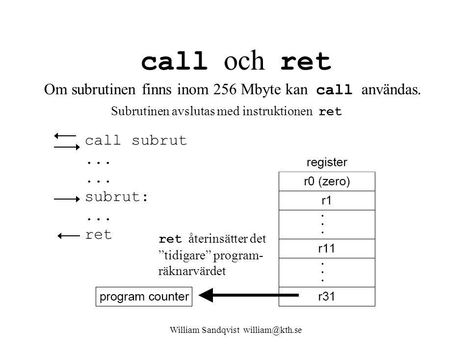 """William Sandqvist william@kth.se call och ret call subrut...... subrut:... ret ret återinsätter det """"tidigare"""" program- räknarvärdet Om subrutinen fin"""