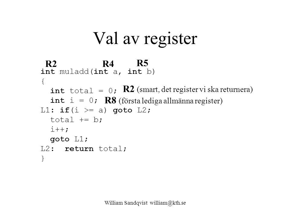 William Sandqvist william@kth.se Val av register int muladd(int a, int b) { int total = 0; int i = 0; L1: if(i >= a) goto L2; total += b; i++; goto L1