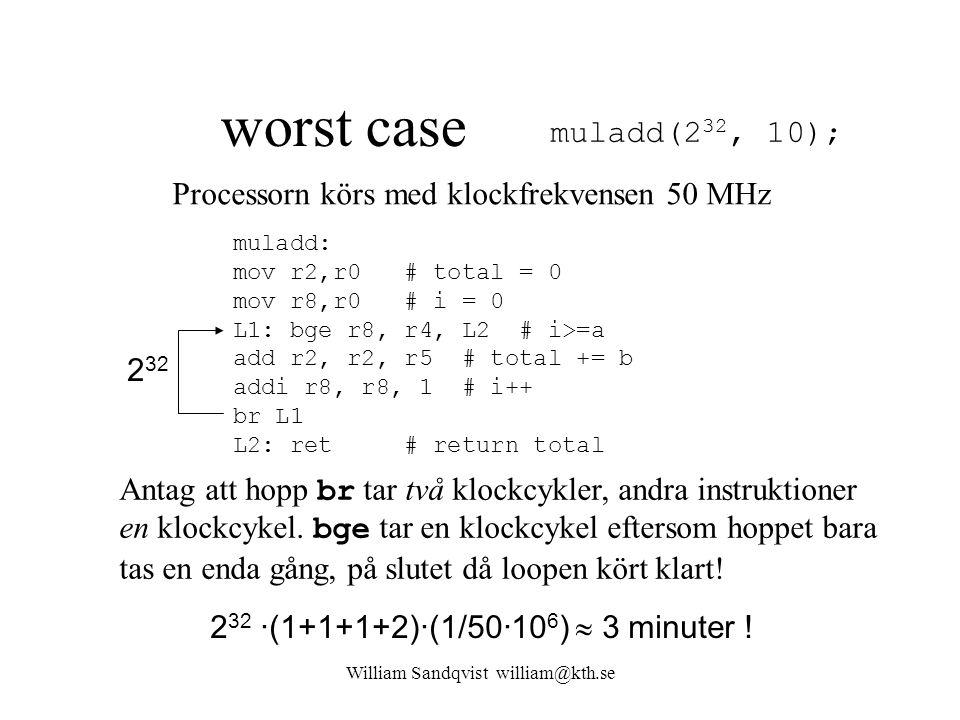 William Sandqvist william@kth.se worst case muladd(2 32, 10); muladd: mov r2,r0 # total = 0 mov r8,r0 # i = 0 L1: bge r8, r4, L2 # i>=a add r2, r2, r5