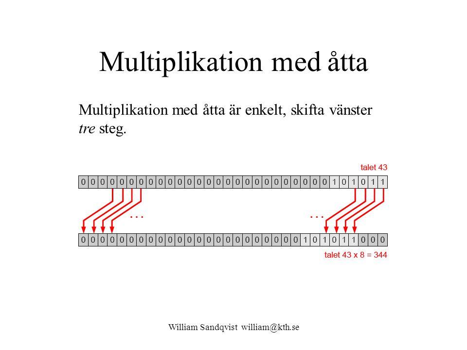 William Sandqvist william@kth.se Multiplikation med åtta Multiplikation med åtta är enkelt, skifta vänster tre steg.